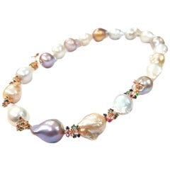 """Firework"" Large Freshwater Pearl, Diamond and Sapphire Necklace"