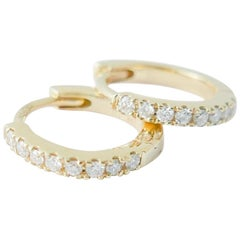 Mini 18 Karat Yellow Gold Diamond Earring by Allison Bryan