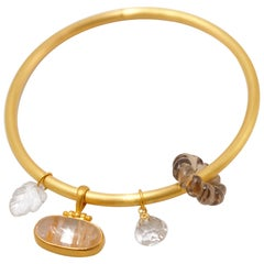 Mat Finish Round Bangle 20 Karat Gold Bracelet