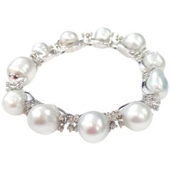 "Scaramazza Pearl & White Diamond ""Firework"" Bracelet in 18-Karat White Gold"