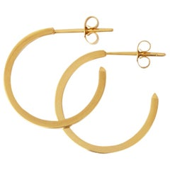 18 Karat Gold Hoop Earrings with White Diamonds by Allison Bryan