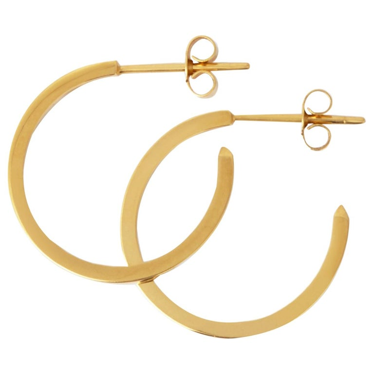 18 Karat Gold Hoop Earrings with White Diamonds by Allison Bryan For Sale