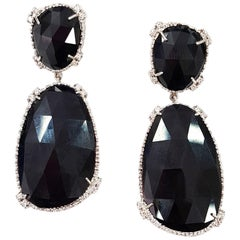 18-Karat White Gold with White Diamonds Jet Black Drop Earrings