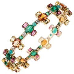 Nikos Koulis 18 Karat Yellow Gold Emerald Orange Sapphire Tourmaline Bracelet