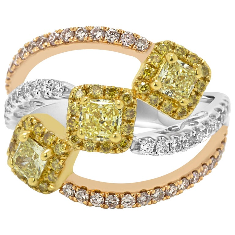 Natural Fancy Yellow and Pink Diamond White Diamond Three-Color Gold Halo Ring For Sale