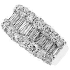 White Gold Baguette and Round Diamond Half Band Ring