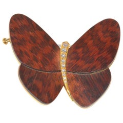 Large 1990s Van Cleef 'VCA' Wood Butterfly Brooch with Diamond Accents