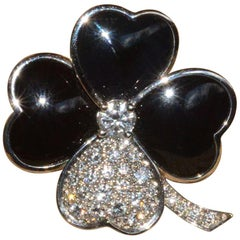 Rare Van Cleef 'VCA' Flower, Clover Pin/Pendant in White Gold, Onyx and Diamond