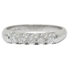 Retro 0.25 Carat Diamond Platinum 5-Stone Band or Stack Ring