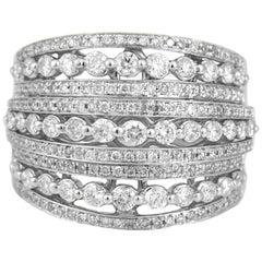 1.32 Carat Diamond 18 Karat Gold Dome Cocktail Ring