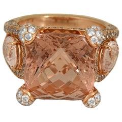 17.39 Carat Morganite and Diamond 18 Karat Gold Cocktail Ring