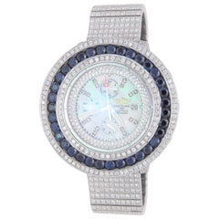 Custom Stainless 45 Carat Diamond and Sapphire Breitling Super Avenger Wristwatc