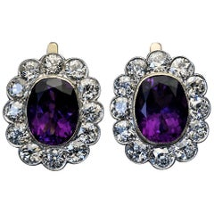 Antique Russian Amethyst Diamond Cluster Earrings