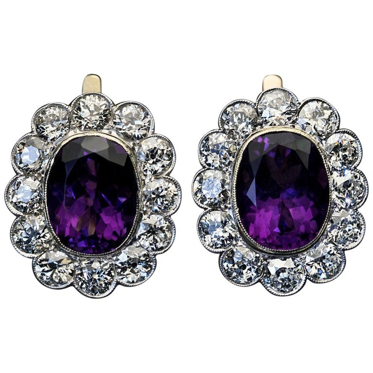 Antique Russian Amethyst Diamond Cluster Earrings For Sale
