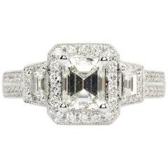 White Gold 1 Carat Emerald Diamond Halo Ring