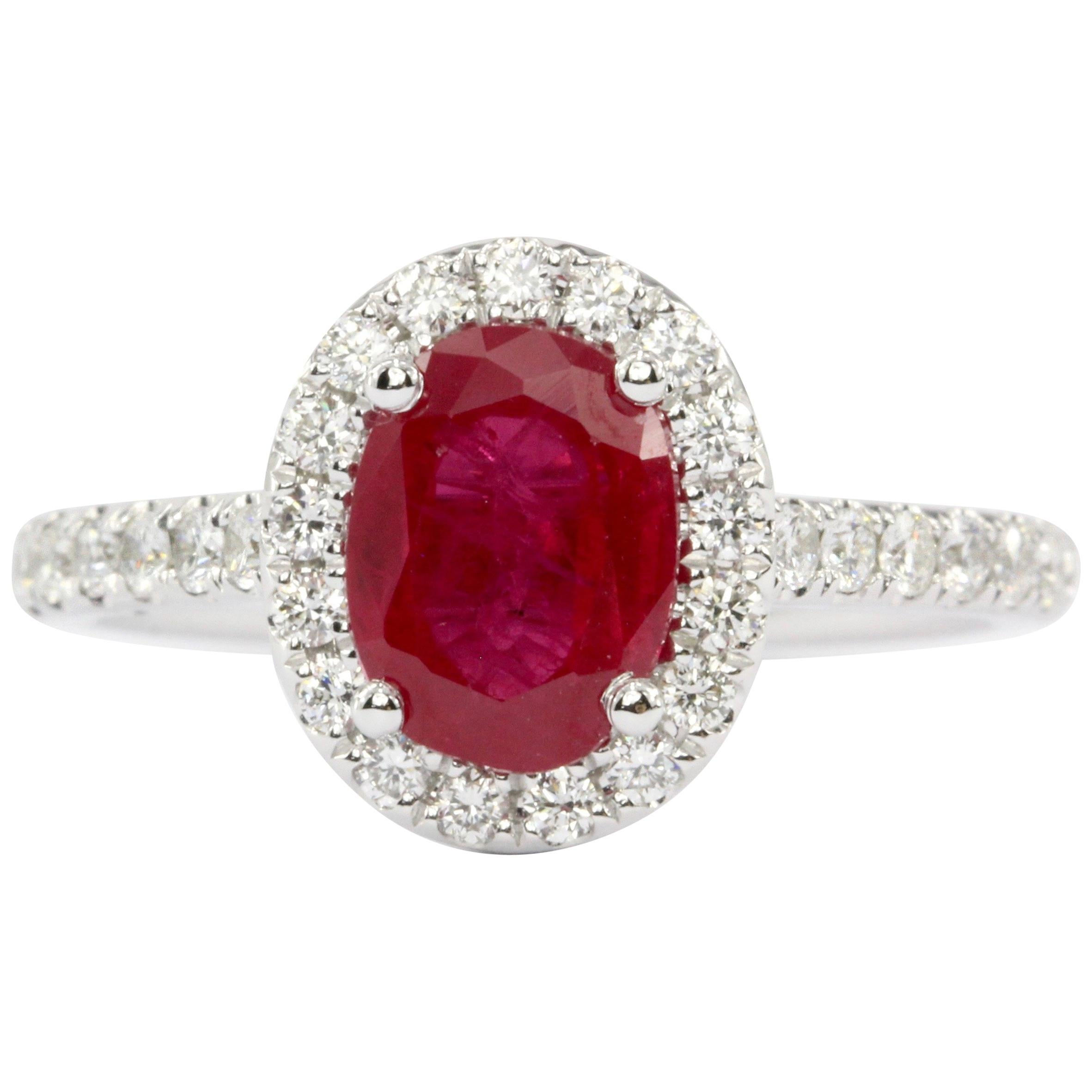 White Gold Oval Cut 2.07 Carat Natural Ruby Diamond Halo Ring