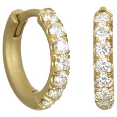 Faye Kim 18 Karat Gold Diamond Huggy Hoop Earrings