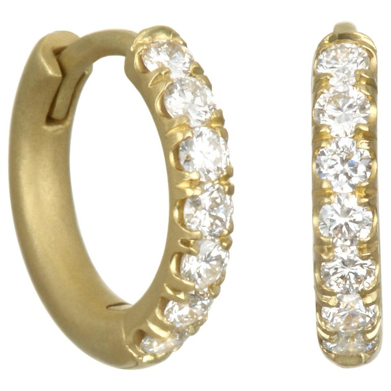 Faye Kim 18 Karat Gold Diamond Huggy Hoop Earrings For Sale