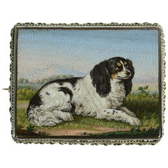 Micro-Mosaic Pin Depicting a King Charles Spaniel, Attributed to Luigi Moglia