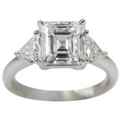 Square Emerald-Cut Ring with Trillion Side Diamonds, 2.27 Carat, D, VVS1