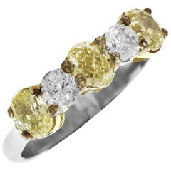 Fancy Yellow and White Diamond Platinum Half Band Ring