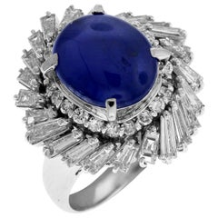 Blue Sapphire Ring Cabochon with Baguette Diamonds Platinum
