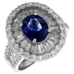 Blue Sapphire Ring with Baguette and Round Diamonds White Gold