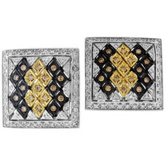 Champagne White Diamond Earrings White Gold
