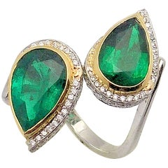 Pear Shaped Emeralds and Diamond Bypass Ring in Platinum and 18 Karat Gold