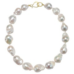 Faye Kim 18 Karat Gold Baroque Cultured Pearl Necklace