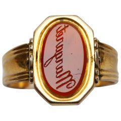 """Margaret"" Carnelian Intaglio and Gold Swivel Ring"