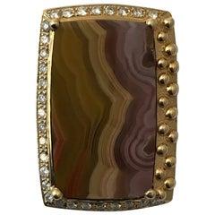 Laguna Agate Pendant with Diamonds in 14 Karat Yellow Gold