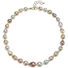 Faye Kim 18 Karat Gold Baroque Multi-Color Cultured Pearl Necklace
