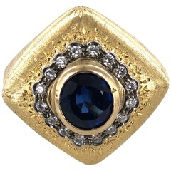 Buccellati Diamond Sapphire 18 Karat Yellow Gold Estate Cocktail Ring