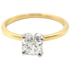 GIA Certified Radiant Cut 1.02 Carat Diamond 18 Karat Yellow Gold Solitaire Ring
