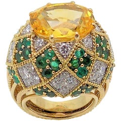 Yellow Sapphire, Emeralds and Diamond Dome Ring