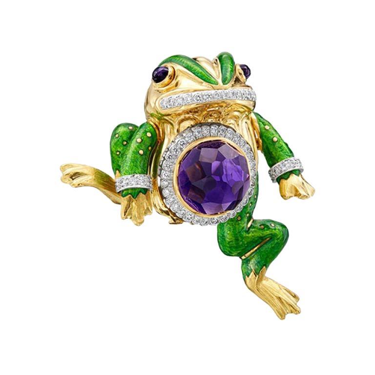 David Webb 18K Yellow Gold & Platinum 15.74ctw Amethyst and Diamond Frog Pin For Sale