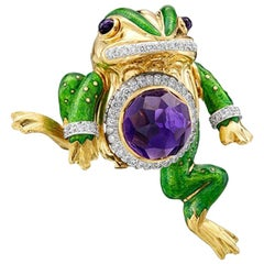 David Webb 18 Karat Gold and Platinum 15.74 Carat Amethyst and Diamond Frog Pin