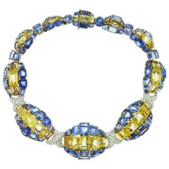 Diamond, Yellow and Blue Sapphire 18 Karat Yellow Gold Necklace by David Webb