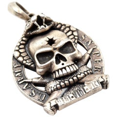 """U.S. Army Sniper """"One Shot One Kill"""" Sterling Silver Pendant"""