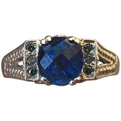 2.0 Carat Approximate Checker Board Blue Sapphire and Diamond Ring, Ben Dannie