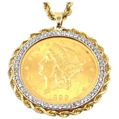 22k YG Liberty Eagle Coin & Diamond Bezel Rope Coin Pendant on 14k YG Rope Chain