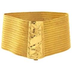 22 Karat Gold Handwoven Engraved Floral Bracelet