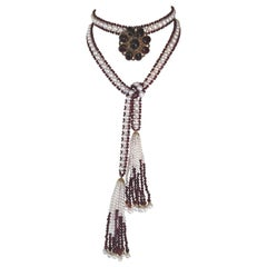 Faceted Garnet and White Pearl Sautoir Necklace with 14 Karat Gold Findings