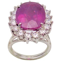 Dark Pink Sapphire and Diamond Ring in 18 Karat White Gold