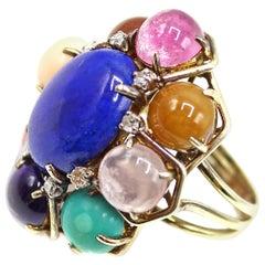 Lapis Lazuli Cabochon Multi Gem Stone Diamond 18 Karat Gold Ring
