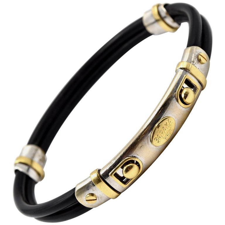 0919ca6c748aa Baraka 18 Karat Two-Tone Gold and Rubber Bracelet