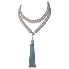Aquamarine and White Pearl Sautoir Necklace with 14 Karat Gold Clasp and Beads