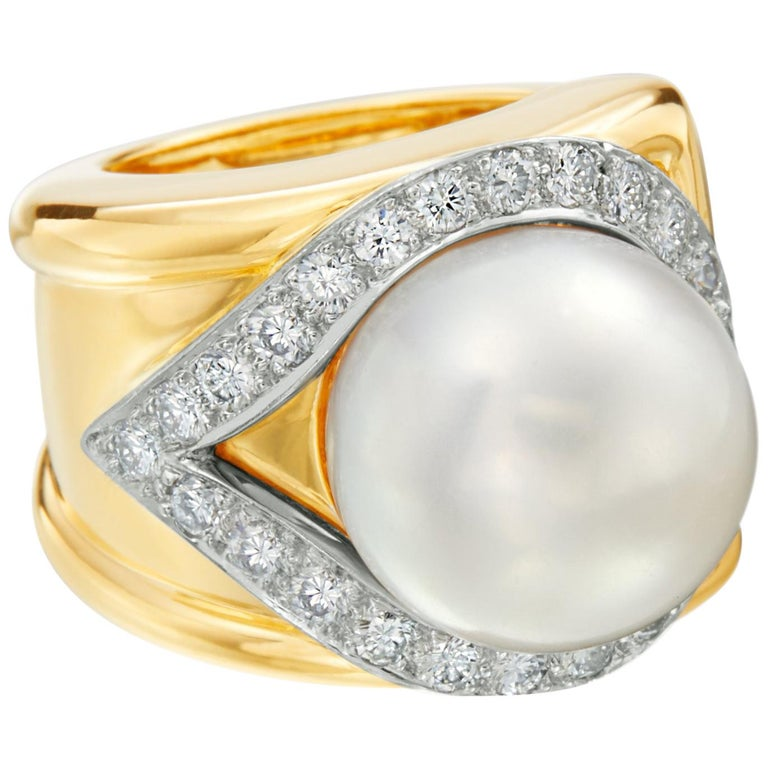 David Webb 18 Karat Yellow Gold South Sea Pearl and Diamond and Halo Ring For Sale