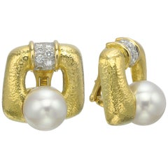 David Webb 18 Karat Yellow Gold and Platinum South Sea Pearl Diamond Earrings